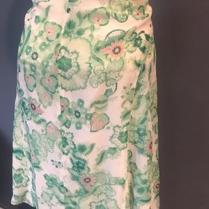 FLOWY..Burberry London floral silk skirt size 12